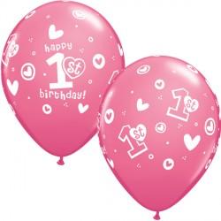 "1ST BIRTHDAY CIRCLE & HEARTS 11"" ROSE (25CT)"