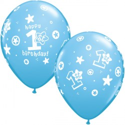 "1ST BIRTHDAY CIRCLE & STARS 11"" PALE BLUE (25CT)"