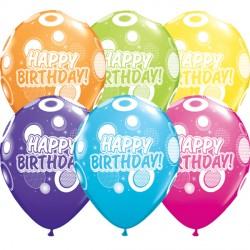 "DOTS & GLITZ BIRTHDAY 11"" TROPICAL ASSORTED (25CT)"