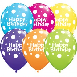 "BIG POLKA DOTS BIRTHDAY 11"" TROPICAL ASSORTED (50CT)"