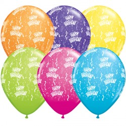 """BIRTHDAY-A-ROUND 11"""" TROPICAL ASSORTED (25CT)"""