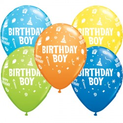 "BIRTHDAY BOY 11"" DARK BLUE, YELLOW, ORANGE, LIME GREEN & ROBIN'S EGG BLUE (25CT)"