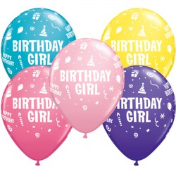 "BIRTHDAY GIRL 11"" YELLOW, PINK, ROSE, PURPLE VIOLET & TROPICAL TEAL (25CT)"