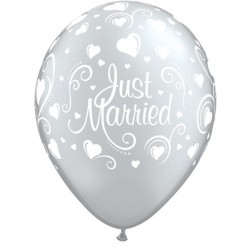 "JUST MARRIED HEARTS 11"" SILVER (6X6CT)"