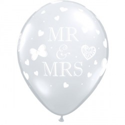 "MR. & MRS. 11"" DIAMOND CLEAR (50CT)"