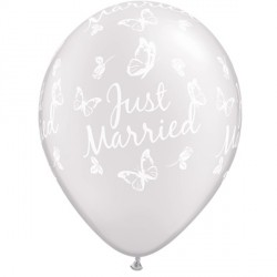 "JUST MARRIED BUTTERFLIES-A-ROUND 11"" PEARL WHITE (25CT)"