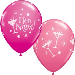 "HEN NIGHT BUBBLY 11"" WILD BERRY & ROSE (25CT) YGX"