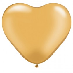 "GOLD HEART 6"" METALLIC (100CT)"