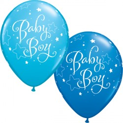 "BABY BOY STARS 11"" DARK BLUE & ROBIN'S EGG BLUE (25CT)"