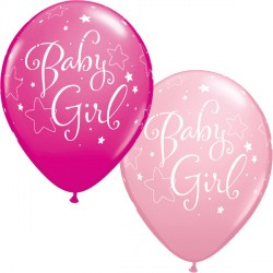"BABY GIRL STARS 11"" PINK & WILD BERRY (25CT)"