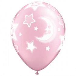 "BABY MOON & STARS 11"" PEARL PINK (25CT)"