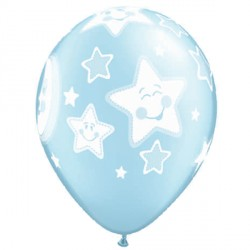 "BABY MOON & STARS 11"" PEARL LIGHT BLUE (25CT)"