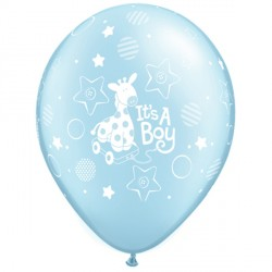 "IT'S A BOY SOFT GIRAFFE 11"" PEARL LIGHT BLUE (25CT)"