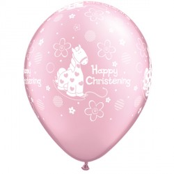 "CHRISTENING SOFT PONY 11"" PEARL PINK (25CT)"