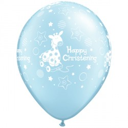 "CHRISTENING SOFT GIRAFFE 11"" PEARL LIGHT BLUE (25CT)"