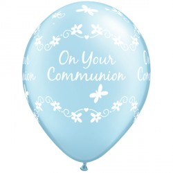 "COMMUNION BUTTERFLIES 11"" PEARL LIGHT BLUE (25CT)"