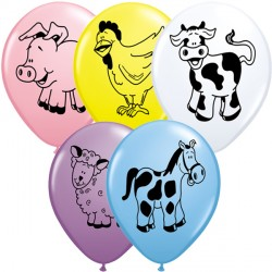 "FARM ANIMALS ASSORTMENT 11"" YELLOW, PINK, PALE BLUE, WHITE & SPRING LILAC (25CT)"