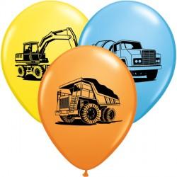 "CONSTRUCTION TRUCKS ASSORTMENT 11"" PALE BLUE, YELLOW & ORANGE (25CT)"