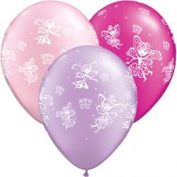 "FAIRIES & BUTTERFLIES 11"" PEARL MAGENTA, LAVENDER & PINK (25CT)"
