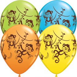 "MISCHIEVOUS MONKEYS 11"" YELLOW, ORANGE, ROBIN'S EGG BLUE & LIME GREEN (25CT)"