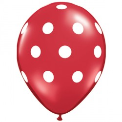 "BIG POLKA DOTS 11"" RED WITH WHITE INK (25CT) YHG"