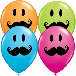 "SMILE FACE MUSTACHE 5"" ORANGE, ROBIN'S EGG BLUE, WILD BERRY & LIME GREEN (100CT)"