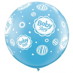 BABY BOY DOTS-A-ROUND 3' PALE BLUE (2CT)