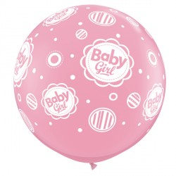 BABY GIRL DOTS-A-ROUND 3' PINK (2CT)