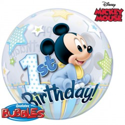 "MICKEY MOUSE 1ST BIRTHDAY 22"" SINGLE BUBBLE"