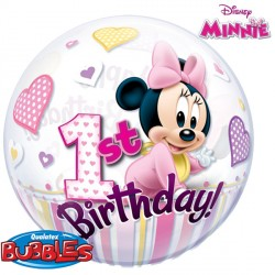"MINNIE MOUSE 1ST BIRTHDAY 22"" SINGLE BUBBLE"