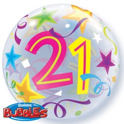 "21 BRILLIANT STARS 22"" SINGLE BUBBLE"