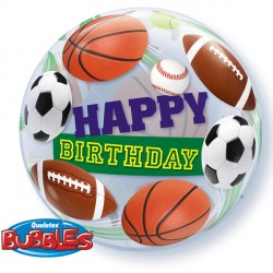 "BIRTHDAY SPORT BALLS 22"" SINGLE BUBBLE"