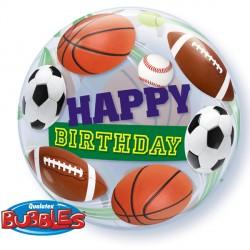 "BIRTHDAY SPORT BALLS 22"" SINGLE BUBBLE"