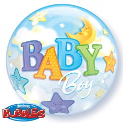 "BABY BOY MOON & STARS 22"" SINGLE BUBBLE"