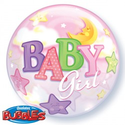 "BABY GIRL MOON & STARS 22"" SINGLE BUBBLE"