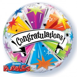 "CONGRATULATIONS BANNER BLAST 22"" SINGLE BUBBLE"