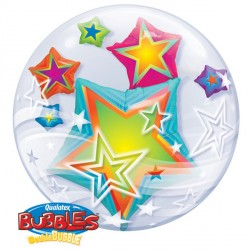 "MULTI COLOURED STARS 24"" DOUBLE BUBBLE YUY"