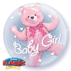 "BABY PINK BEAR 24"" DOUBLE BUBBLE"