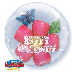 "HAPPY BIRTHDAY LEAVES FLOWER 24"" DOUBLE BUBBLE YUY"