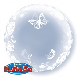 "ELEGANT ROSES & BUTTERFLIES 24"" DECO BUBBLE"