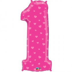 NUMBER ONE PINK HEARTS SHAPE 38""