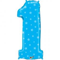 "NUMBER ONE BLUE STARS SHAPE 38"""