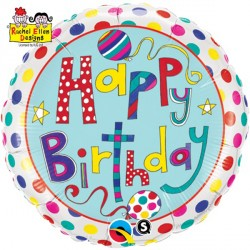 "RACHEL ELLEN POLKA DOTS & STRIPES BIRTHDAY 18"" PKT"