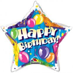 "BIRTHDAY! SPARKLING BALLOONS STAR 20"" PKT"