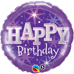 "SPARKLE PURPLE BIRTHDAY 18"" PKT"