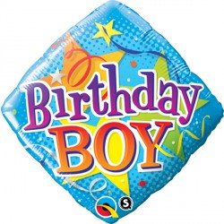 "BIRTHDAY BOY STARS 18"" PKT"