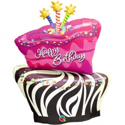 "BIRTHDAY FUNKY ZEBRA STRIPE CAKE 41"" SHAPE GROUP D PKT"