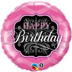 "PINK & BLACK BIRTHDAY 18"" PKT IF"