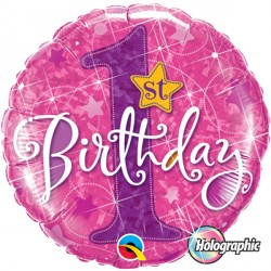 "1ST BIRTHDAY STARS PINK 18"" PKT"