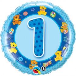 """AGE 1 BLUE TEDDIES 18"""" PKT"""